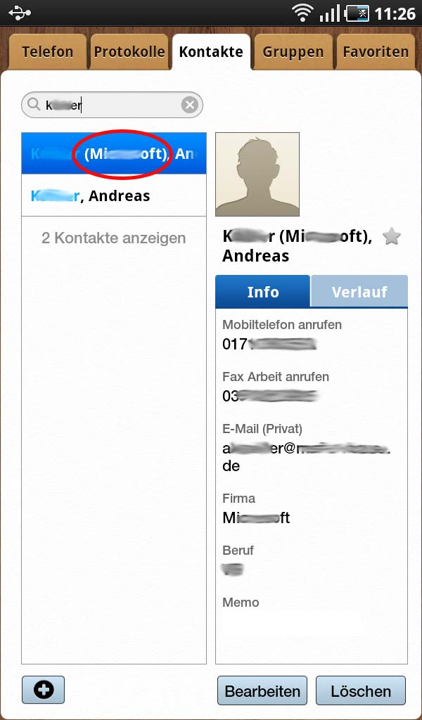 Kontaktordnung Samsung Galaxy Tab